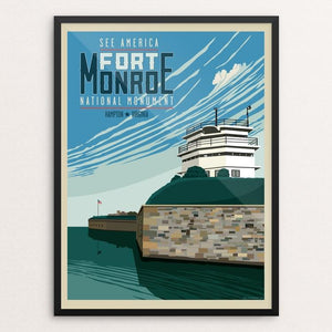 "The Fort Monroe National Monument by Don Henderson 12"" by 16"" Print / Framed Print See America"