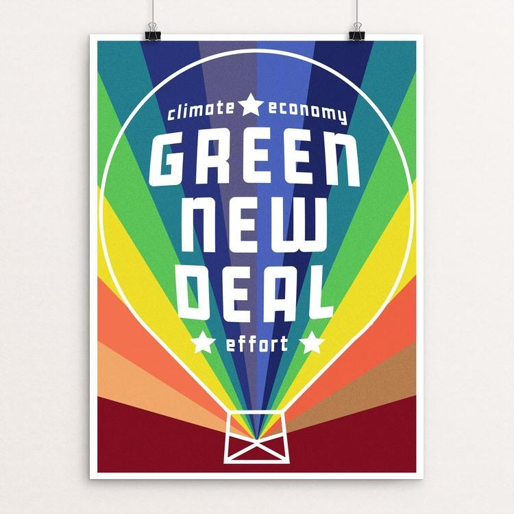"The Green New Deal by Holly Savas 12"" by 16"" Print / Unframed Print Green New Deal"
