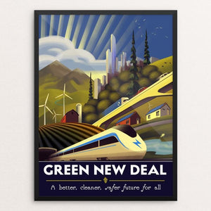 "The Green New Deal by Jordan Johnson 12"" by 16"" Print / Framed Print Green New Deal"
