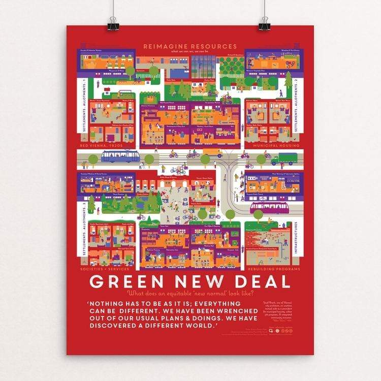 "The Green New Deal & Red Vienna: Reimagine Resources by Meg Studer 18"" by 24"" Print / Unframed Print Green New Deal"