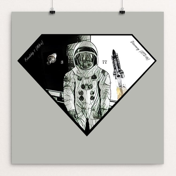 "The Man 77 by Bryan Bromstrup 12"" by 12"" Print / Unframed Print Space Horizons"