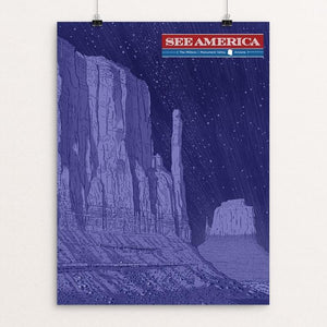 "The Mittens, Monument Valley by Brixton Doyle 12"" by 16"" Print / Unframed Print See America"