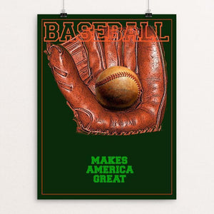 "THE NATIONAL PASTIME by BOB RUBIN 12"" by 16"" Print / Unframed Print What Makes America Great"