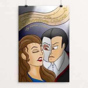 "The Phantom of the Opera by Chandler Johnson 12"" by 18"" Print / Unframed Print Recovering the Classics"