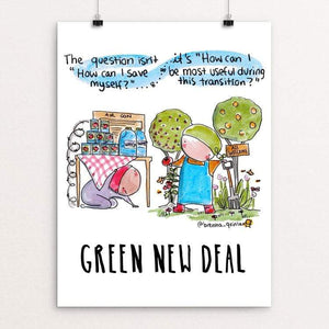 "The Question by Brenna Quinlan 18"" by 24"" Print / Unframed Print Green New Deal"