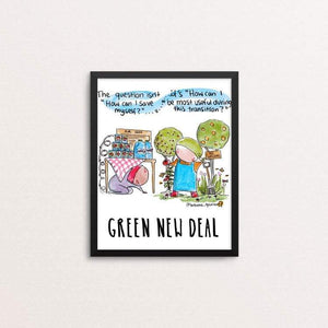 "The Question by Brenna Quinlan 8"" by 10"" Print / Framed Print Green New Deal"