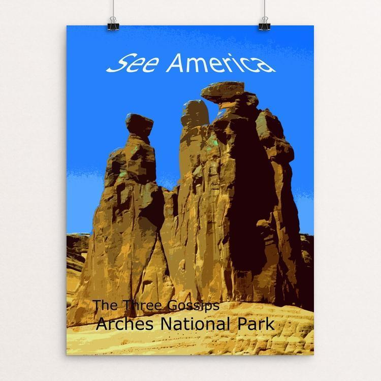 "The Three Gossips, Arches National Park by Rodney A. Buxton 12"" by 16"" Print / Unframed Print See America"