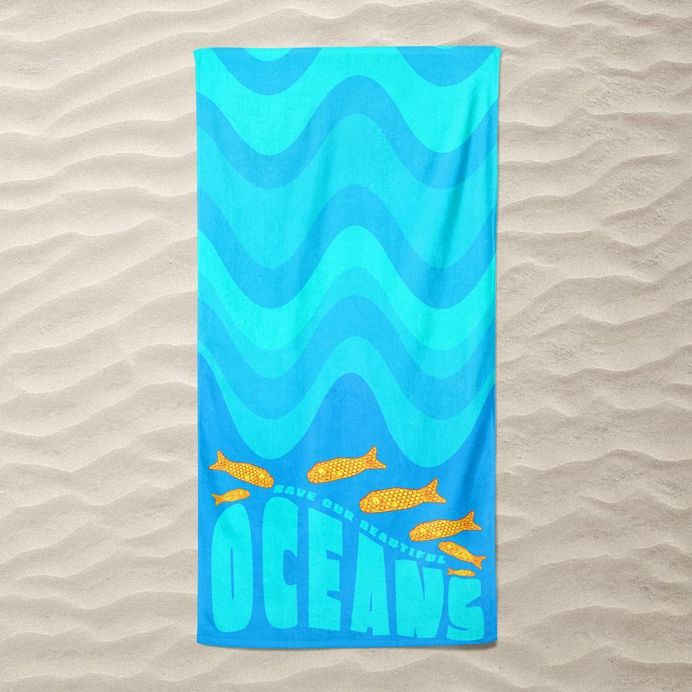 Their Ocean Beach Towel by Atabey Sanchez-Haiman Beach Towel Ocean Love