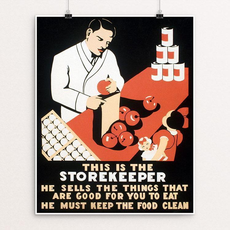 "This is the storekeeper He sells the things that are good for you to eat - He must keep the food clean Unframed / 16"" by 20"" Print WPA Federal Art Project"