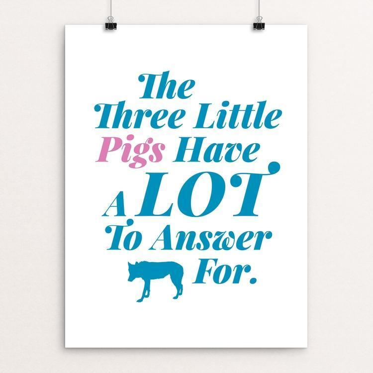 "Three Little Pigs by Darrell Stevens 18"" by 24"" Print / Unframed Print Join the Pack"