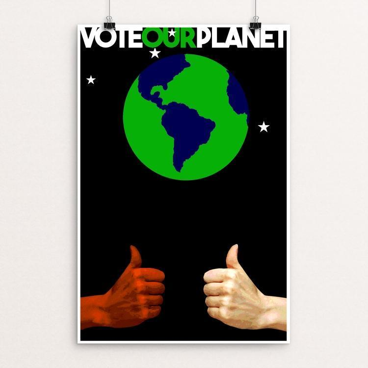"THUMBS UP ! by BOB RUBIN 12"" by 18"" Print / Unframed Print Vote Our Planet"