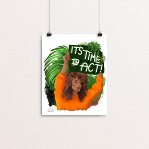 "Time to act by kita healy 8"" by 10"" Print / Unframed Print Green New Deal"