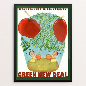 "Tomato Tometo by Yaara Eshet 18"" by 24"" Print / Framed Print Green New Deal"