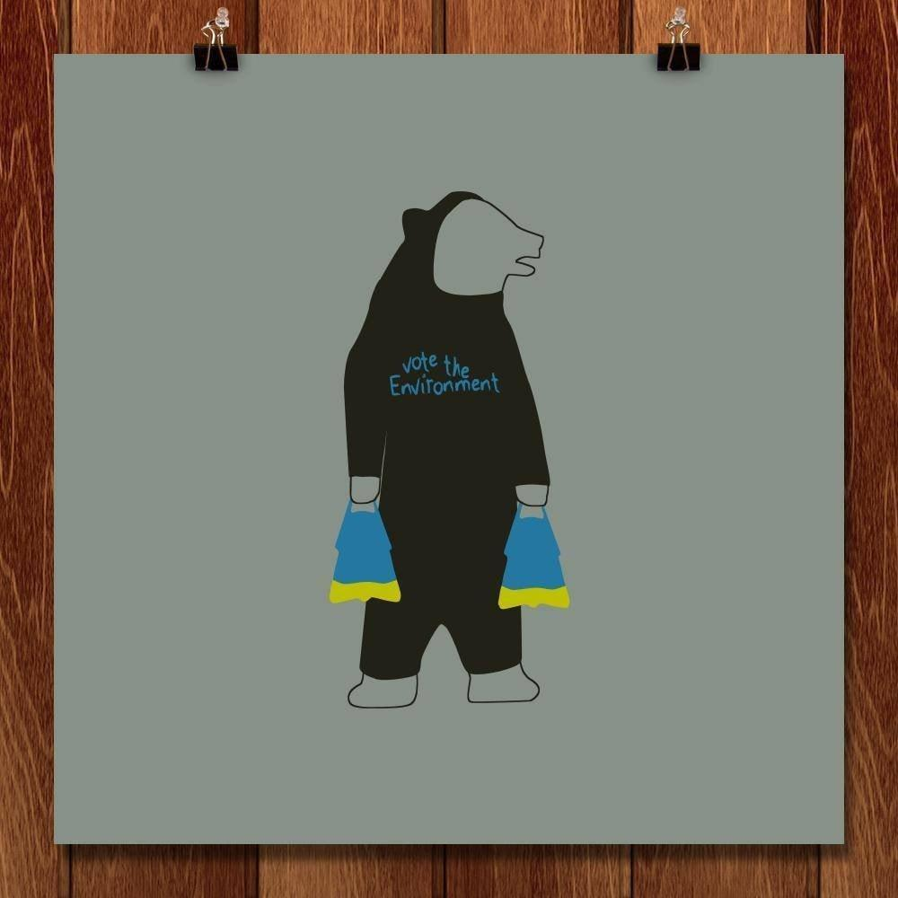 "Torpedo Bear by Todd Gilloon 12"" by 12"" Print / Unframed Print Vote the Environment"