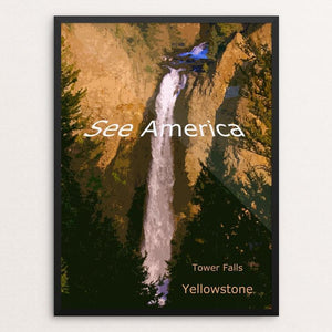 "Tower Falls, Yellowstone National Park by Rodney Buxton 12"" by 16"" Print / Framed Print See America"
