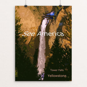 "Tower Falls, Yellowstone National Park by Rodney Buxton 12"" by 16"" Print / Unframed Print See America"