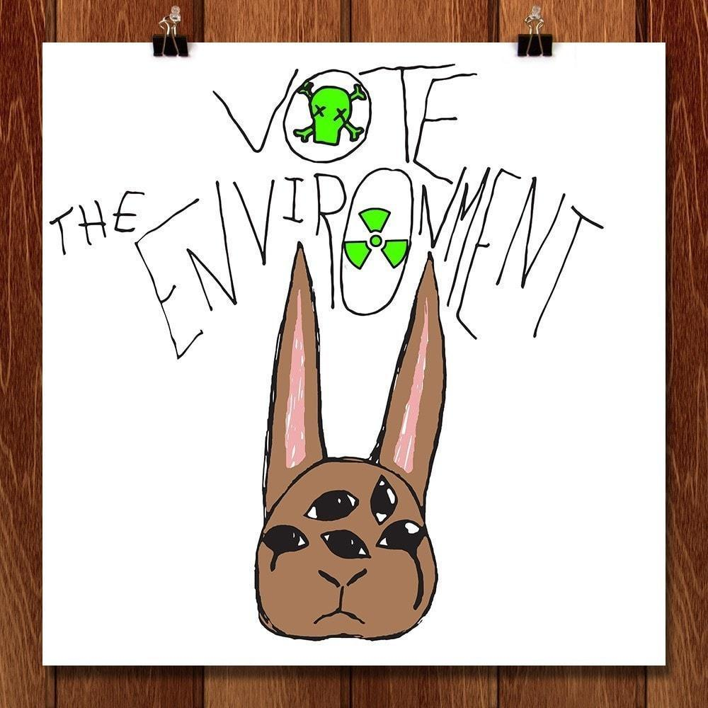 "Toxic Rabbit by Maile 12"" by 12"" Print / Unframed Print Vote the Environment"