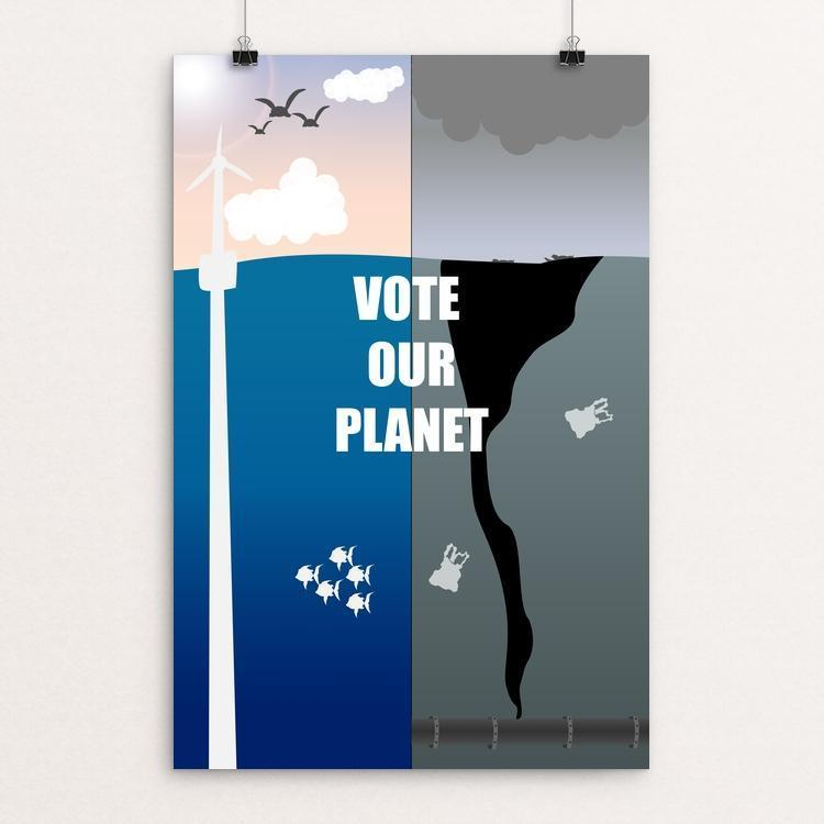 "Trashing the Planet by Addison Miller 12"" by 18"" Print / Unframed Print Vote Our Planet"