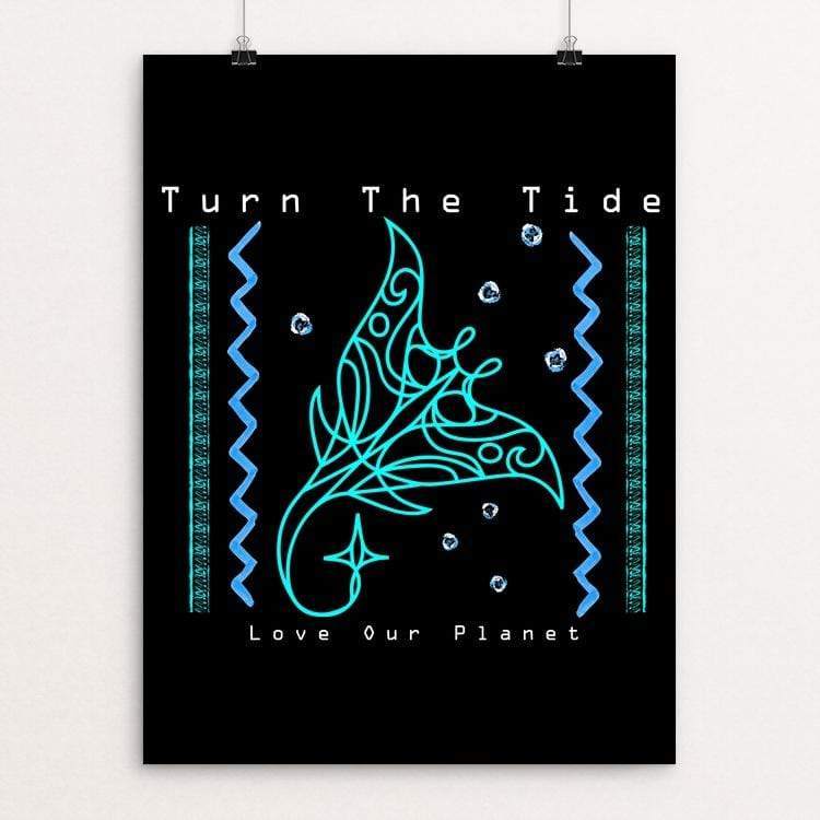 "Turn The Tide - Love our Planet Native Manta Ray Guardian by Tina Schofield 18"" by 24"" Print / Unframed Print Creative Action Network"