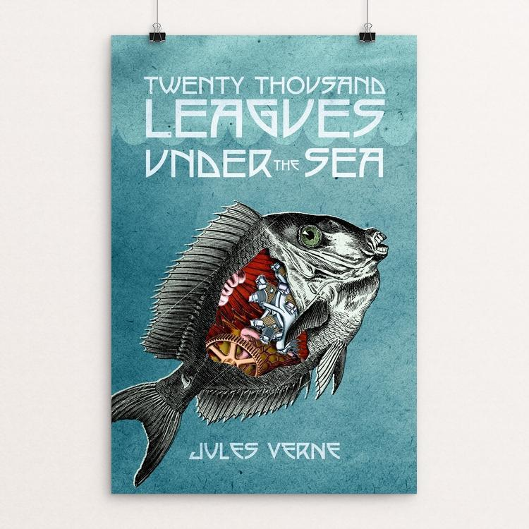 "Twenty-Thousand Leagues Under the Sea by Wade Greenberg 12"" by 18"" Print / Unframed Print Recovering the Classics"