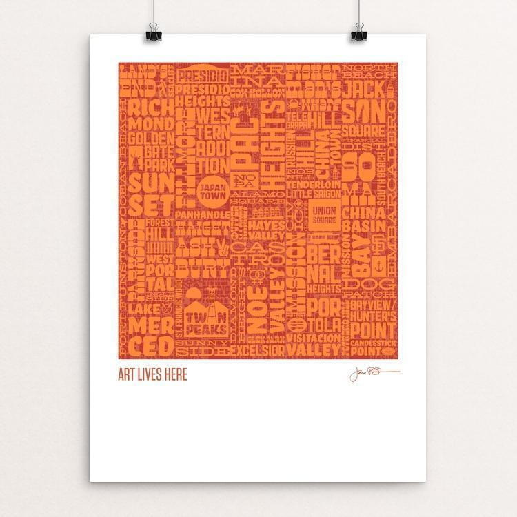 "Typographic Tour of San Francisco by Jim Schaaf 12"" by 16"" Print / Unframed Print Art Lives Here"