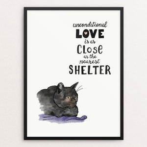 "Unconditional Love (Cat) by Jessica Gerlach 12"" by 16"" Print / Framed Print Creative Action Network"