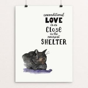 "Unconditional Love (Cat) by Jessica Gerlach 12"" by 16"" Print / Unframed Print Creative Action Network"