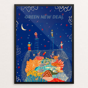 "Unite by Mandy  Sloan 18"" by 24"" Print / Framed Print Green New Deal"