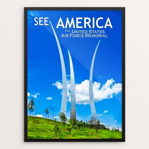 "United States Air Force Memorial by Ed Gleichman 12"" by 16"" Print / Framed Print See America"