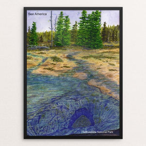 "Unnamed Hotspring, Yellowstone National Park by Vito Marrone 12"" by 16"" Print / Framed Print See America"