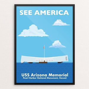 "USS Arizona Memorial, Pearl Harbor National Monument, Hawaii by Daniel Cataloni 18"" by 24"" Print / Framed Print See America"