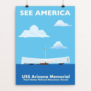 "USS Arizona Memorial, Pearl Harbor National Monument, Hawaii by Daniel Cataloni 18"" by 24"" Print / Unframed Print See America"