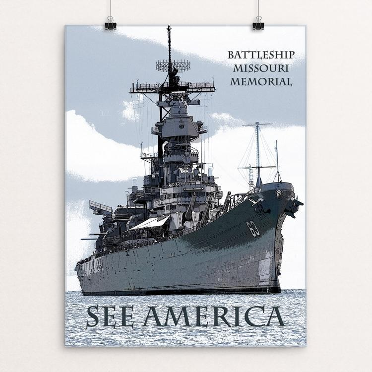 "USS Missouri by Marcia Brandes 12"" by 16"" Print / Unframed Print See America"