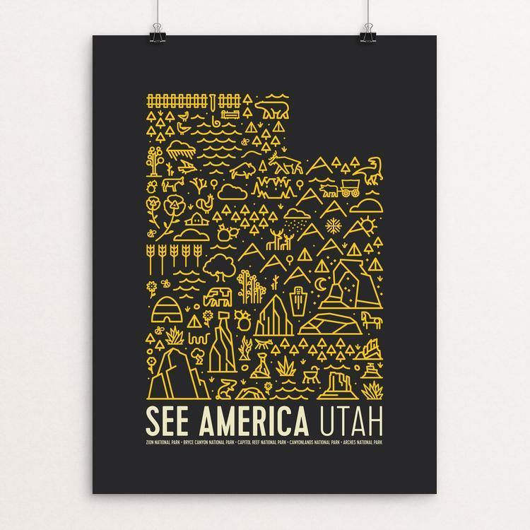 "Utah National Parks Map by Jorrien Peterson 12"" by 16"" Print / Unframed Print See America"