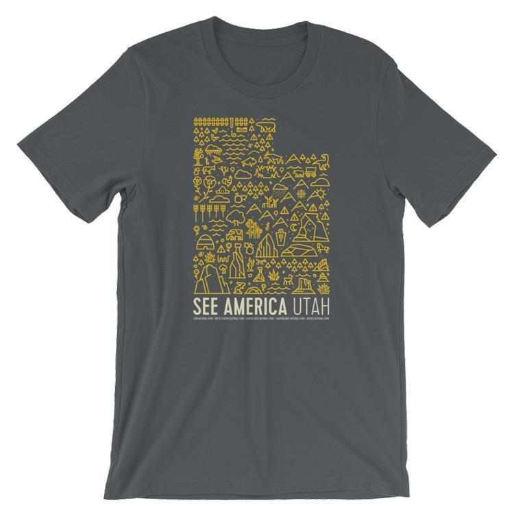 Utah National Parks Map Men's T-Shirt by Jorrien Peterson S / Grey T-Shirt See America