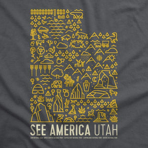 Utah National Parks Map Women's T-Shirt by Jorrien Peterson S / Gray T-Shirt See America
