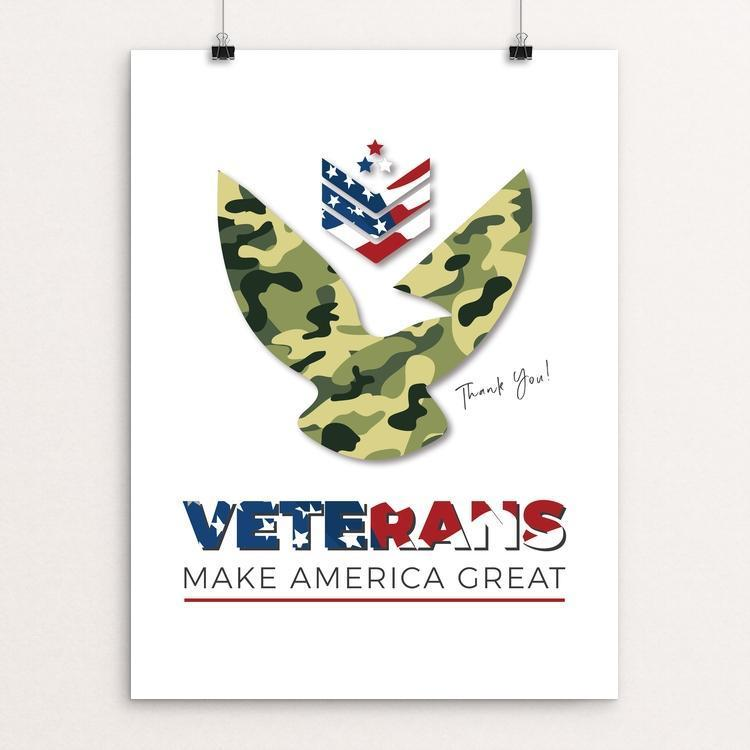 "Veterans Make America Great by Marie Murphy 12"" by 16"" Print / Unframed Print What Makes America Great"