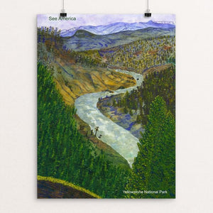 "View from Calcite Springs, Yellowstone National Park by Vito Marrone 12"" by 16"" Print / Unframed Print See America"