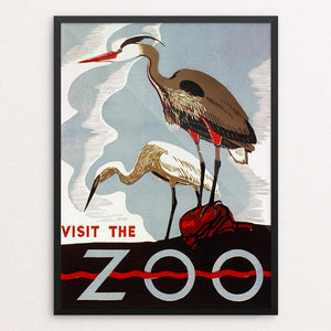 "Visit the Zoo 12"" by 16"" Print / Framed Print WPA Federal Art Project"