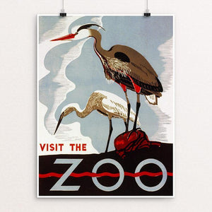 "Visit the Zoo 12"" by 16"" Print / Unframed Print WPA Federal Art Project"