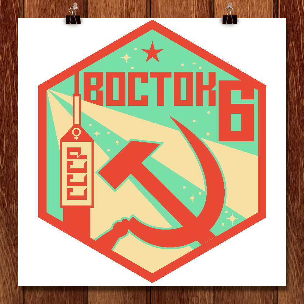 "Vostok 6 (Восток-6) by Krista Sharp 12"" by 12"" Print / Unframed Print Space Horizons"