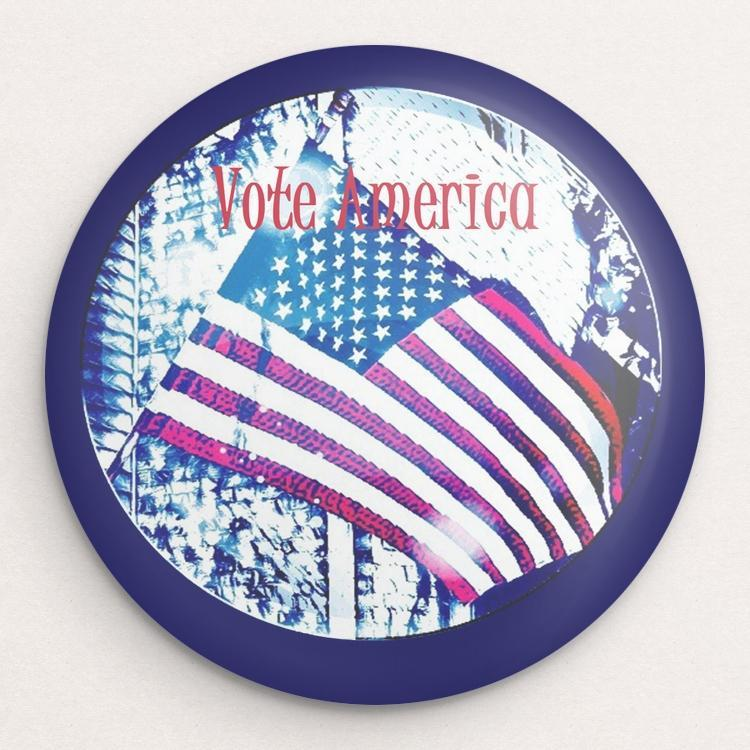 Vote America Button by Bryan Bromstrup Single Buttons Vote!