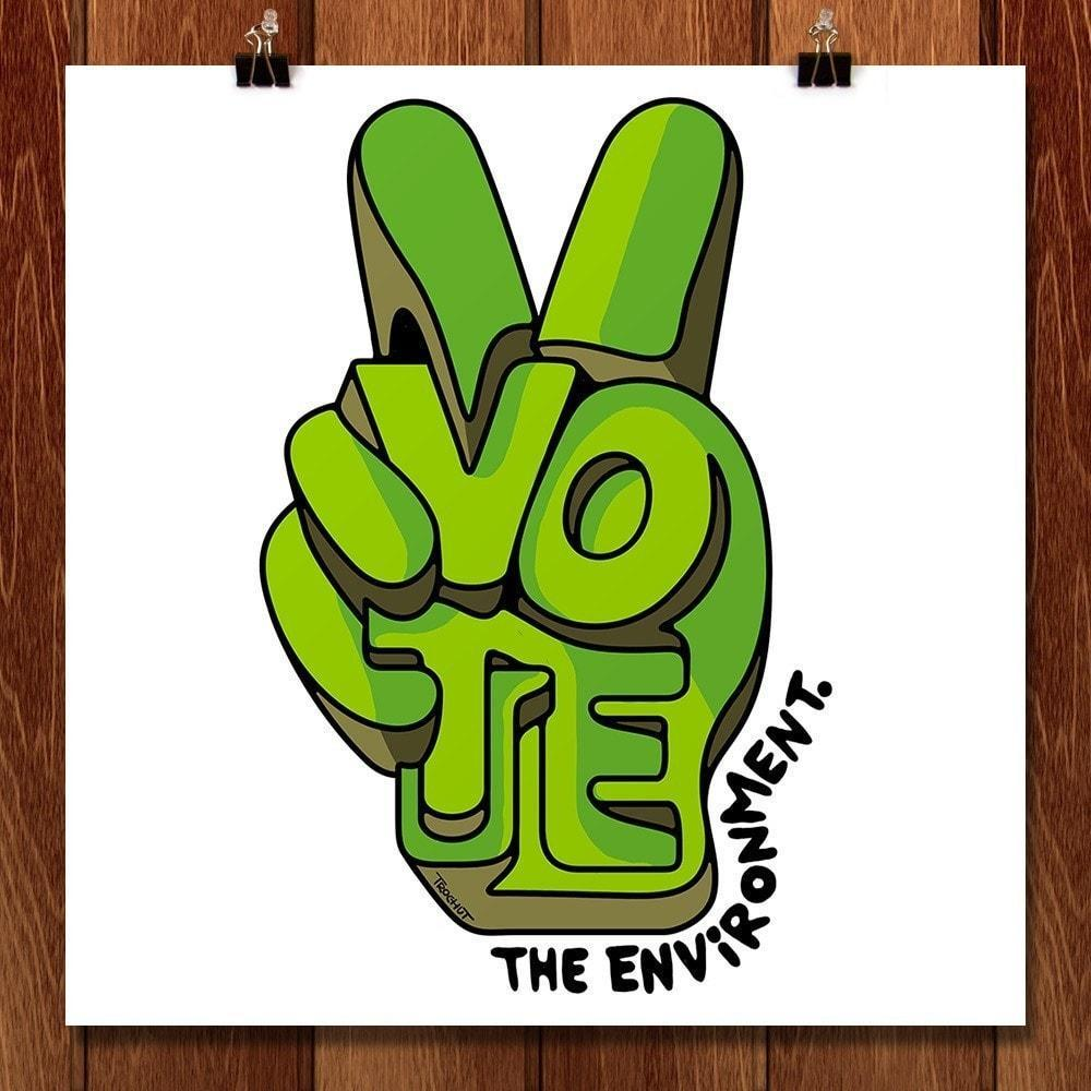 "Vote by Alex Trochut 12"" by 12"" Print / Unframed Print Vote the Environment"