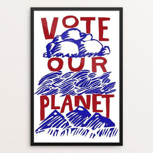 "Vote Our Planet Red White and Blue by Vivian Chang 12"" by 18"" Print / Framed Print Vote Our Planet"