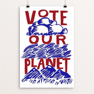"Vote Our Planet Red White and Blue by Vivian Chang 12"" by 18"" Print / Unframed Print Vote Our Planet"