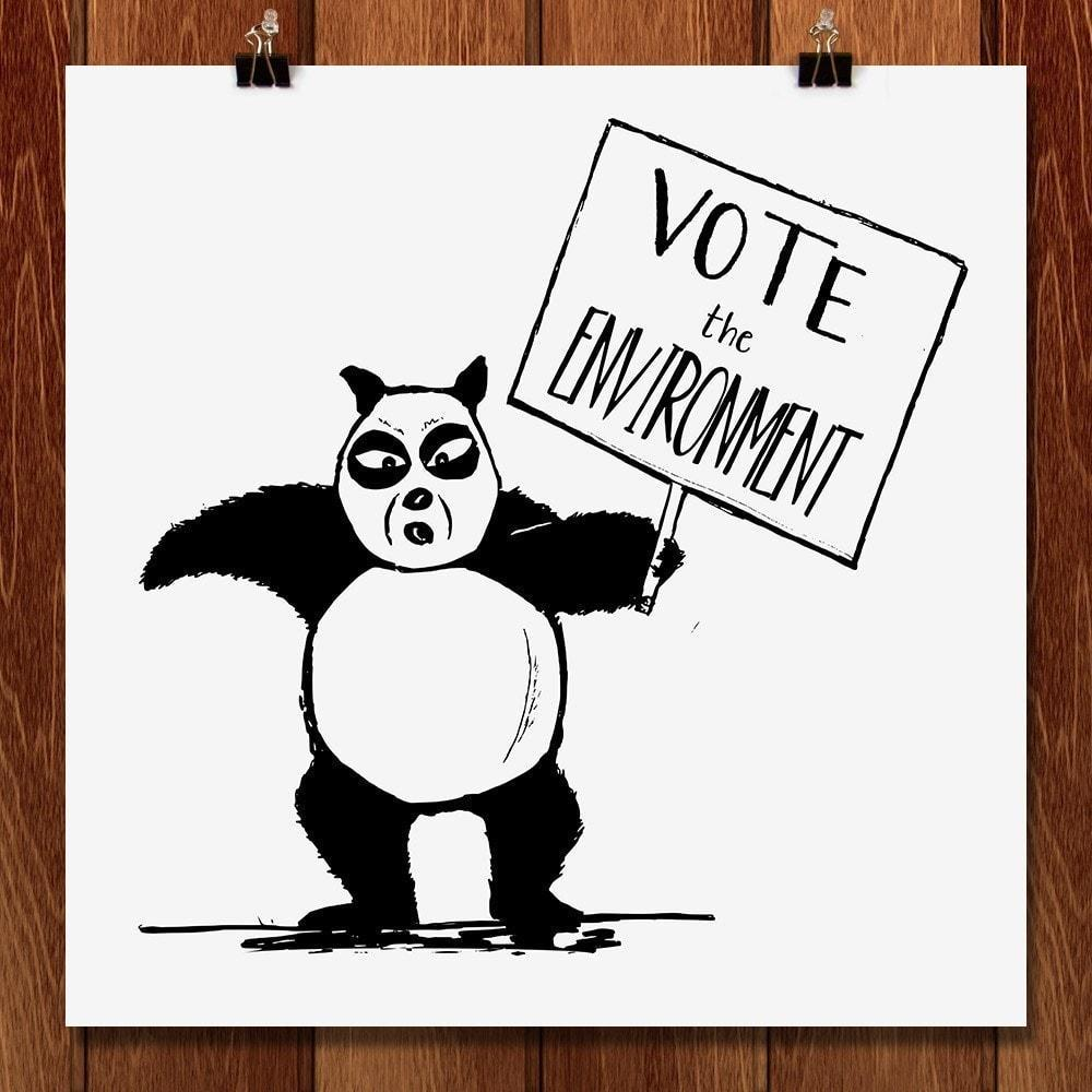"Vote Panda Bear by Alfredo Ferreiro 12"" by 12"" Print / Unframed Print Vote the Environment"