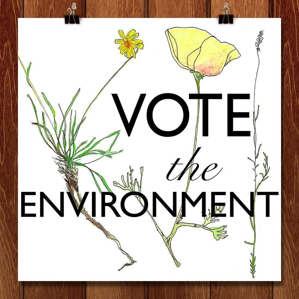 "Vote the Environment 1 by Eva Fillion 12"" by 12"" Print / Unframed Print Vote the Environment"