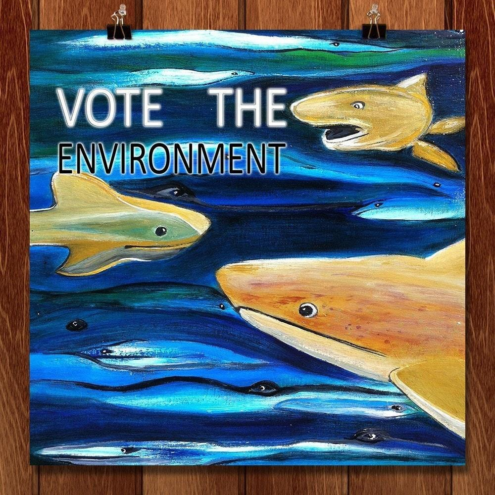 "Vote the Environment 2 by Evana Gerstman 12"" by 12"" Print / Unframed Print Vote the Environment"