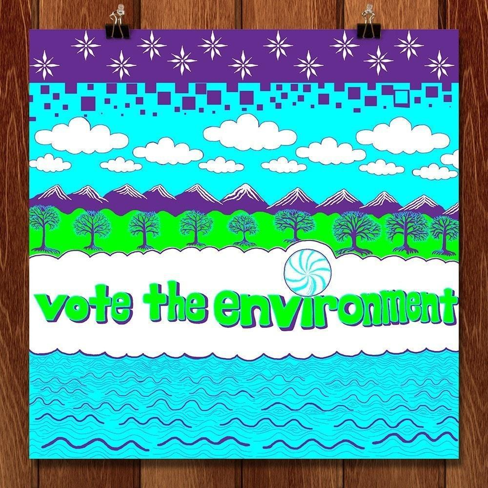 "Vote the Environment 2014 by Rex Flodstrom 12"" by 12"" Print / Unframed Print Vote the Environment"