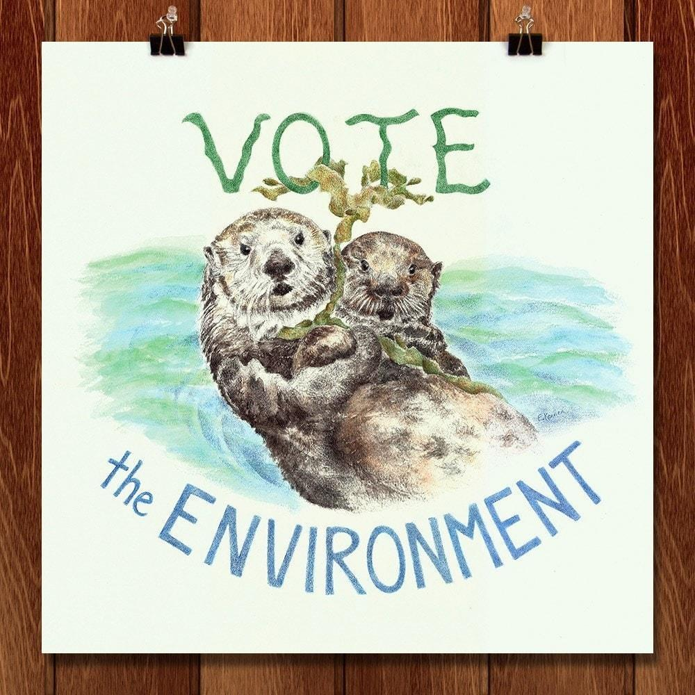 "Vote the Environment by Elizabeth Kennen 12"" by 12"" Print / Unframed Print Vote the Environment"